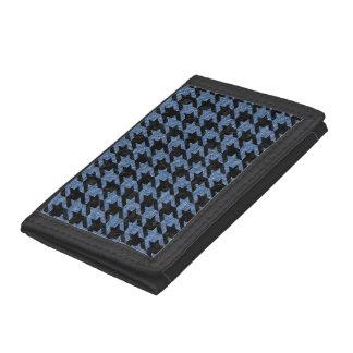 HOUNDSTOOTH1 BLACK MARBLE & BLUE DENIM TRI-FOLD WALLETS