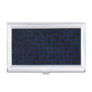 HOUNDSTOOTH1 BLACK MARBLE & BLUE GRUNGE BUSINESS CARD HOLDER