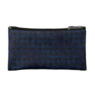 HOUNDSTOOTH1 BLACK MARBLE & BLUE GRUNGE COSMETIC BAG