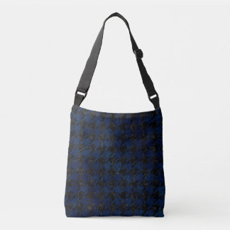 HOUNDSTOOTH1 BLACK MARBLE & BLUE GRUNGE CROSSBODY BAG
