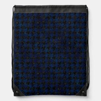 HOUNDSTOOTH1 BLACK MARBLE & BLUE GRUNGE DRAWSTRING BAG