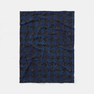 HOUNDSTOOTH1 BLACK MARBLE & BLUE GRUNGE FLEECE BLANKET