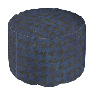 HOUNDSTOOTH1 BLACK MARBLE & BLUE GRUNGE POUF