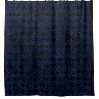HOUNDSTOOTH1 BLACK MARBLE & BLUE GRUNGE SHOWER CURTAIN