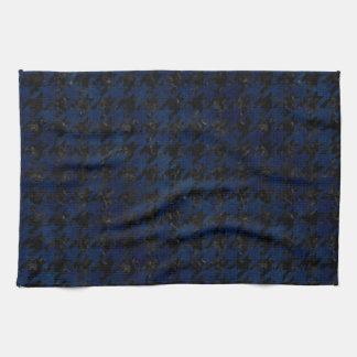 HOUNDSTOOTH1 BLACK MARBLE & BLUE GRUNGE TEA TOWEL