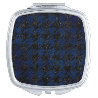 HOUNDSTOOTH1 BLACK MARBLE & BLUE GRUNGE TRAVEL MIRROR