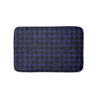 HOUNDSTOOTH1 BLACK MARBLE & BLUE LEATHER BATH MAT