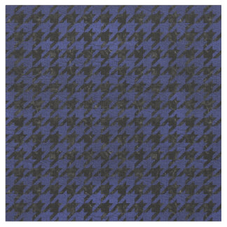 HOUNDSTOOTH1 BLACK MARBLE & BLUE LEATHER FABRIC