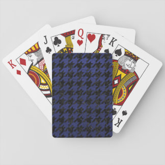 HOUNDSTOOTH1 BLACK MARBLE & BLUE LEATHER PLAYING CARDS