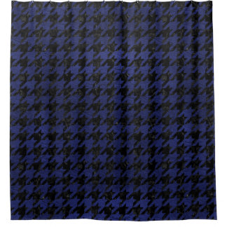 HOUNDSTOOTH1 BLACK MARBLE & BLUE LEATHER SHOWER CURTAIN