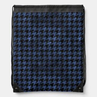 HOUNDSTOOTH1 BLACK MARBLE & BLUE STONE DRAWSTRING BAG
