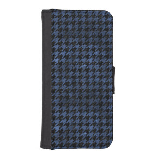 HOUNDSTOOTH1 BLACK MARBLE & BLUE STONE iPhone SE/5/5s WALLET CASE