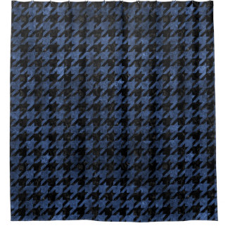 HOUNDSTOOTH1 BLACK MARBLE & BLUE STONE SHOWER CURTAIN