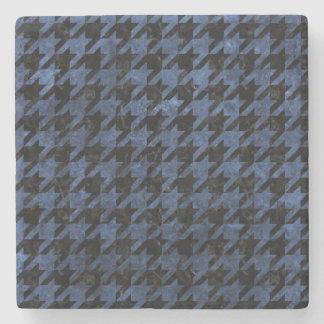 HOUNDSTOOTH1 BLACK MARBLE & BLUE STONE STONE COASTER