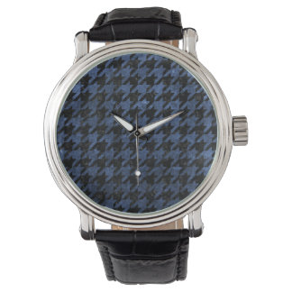 HOUNDSTOOTH1 BLACK MARBLE & BLUE STONE WATCH
