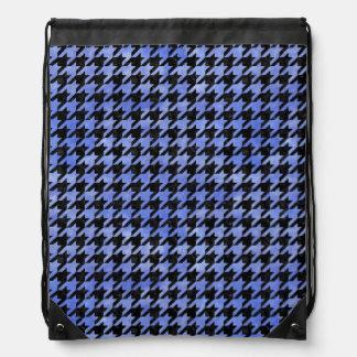 HOUNDSTOOTH1 BLACK MARBLE & BLUE WATERCOLOR DRAWSTRING BAG