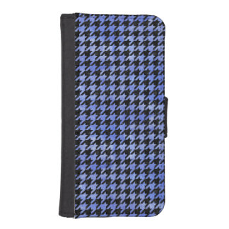 HOUNDSTOOTH1 BLACK MARBLE & BLUE WATERCOLOR iPhone SE/5/5s WALLET CASE