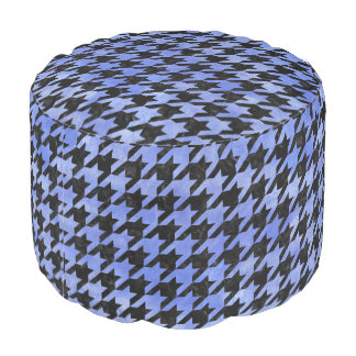 HOUNDSTOOTH1 BLACK MARBLE & BLUE WATERCOLOR POUF