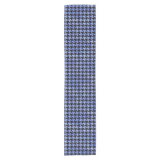 HOUNDSTOOTH1 BLACK MARBLE & BLUE WATERCOLOR SHORT TABLE RUNNER