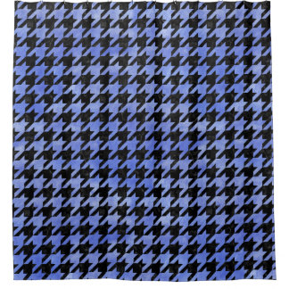 HOUNDSTOOTH1 BLACK MARBLE & BLUE WATERCOLOR SHOWER CURTAIN