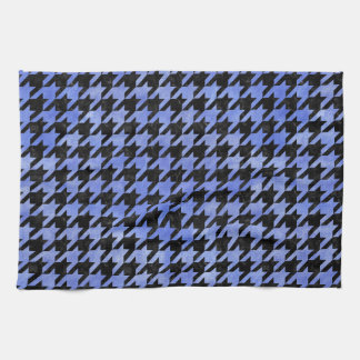HOUNDSTOOTH1 BLACK MARBLE & BLUE WATERCOLOR TEA TOWEL