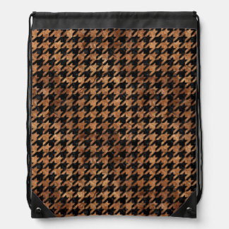 HOUNDSTOOTH1 BLACK MARBLE & BROWN STONE DRAWSTRING BAG