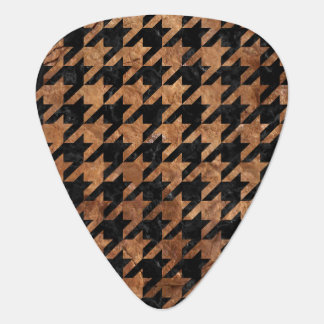 HOUNDSTOOTH1 BLACK MARBLE & BROWN STONE GUITAR PICK