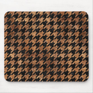 HOUNDSTOOTH1 BLACK MARBLE & BROWN STONE MOUSE PAD
