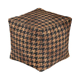 HOUNDSTOOTH1 BLACK MARBLE & BROWN STONE POUF