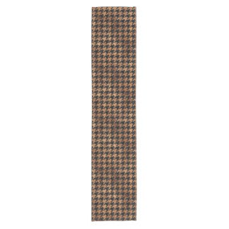 HOUNDSTOOTH1 BLACK MARBLE & BROWN STONE SHORT TABLE RUNNER