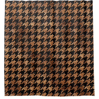 HOUNDSTOOTH1 BLACK MARBLE & BROWN STONE SHOWER CURTAIN