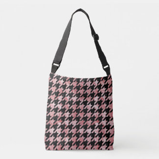 HOUNDSTOOTH1 BLACK MARBLE & RED & WHITE MARBLE CROSSBODY BAG