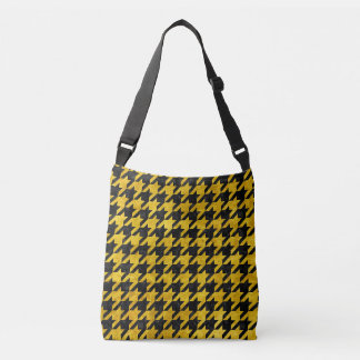 HOUNDSTOOTH1 BLACK MARBLE & YELLOW MARBLE CROSSBODY BAG