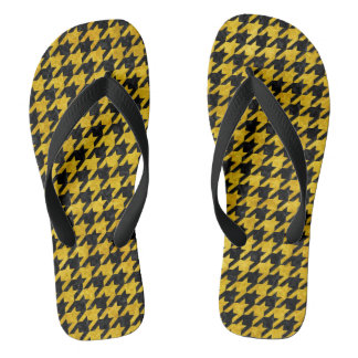 HOUNDSTOOTH1 BLACK MARBLE & YELLOW MARBLE THONGS