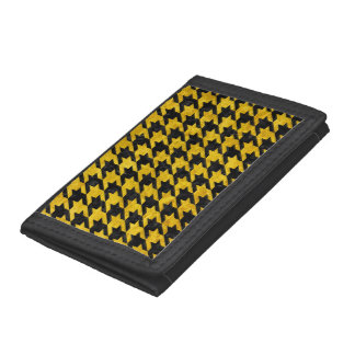 HOUNDSTOOTH1 BLACK MARBLE & YELLOW MARBLE TRI-FOLD WALLETS