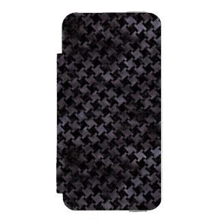 HOUNDSTOOTH2 BLACK MARBLE & BLACK WATERCOLOR INCIPIO WATSON™ iPhone 5 WALLET CASE