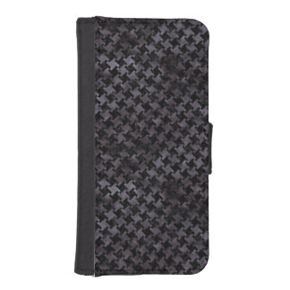 HOUNDSTOOTH2 BLACK MARBLE & BLACK WATERCOLOR iPhone SE/5/5s WALLET CASE
