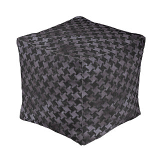 HOUNDSTOOTH2 BLACK MARBLE & BLACK WATERCOLOR POUF