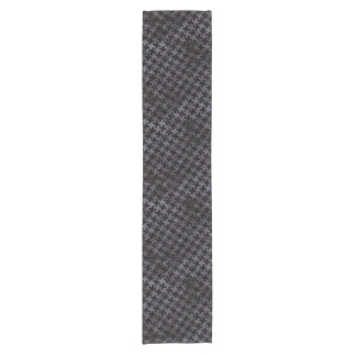 HOUNDSTOOTH2 BLACK MARBLE & BLACK WATERCOLOR SHORT TABLE RUNNER