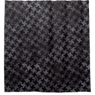 HOUNDSTOOTH2 BLACK MARBLE & BLACK WATERCOLOR SHOWER CURTAIN