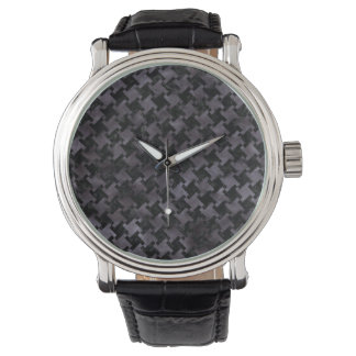 HOUNDSTOOTH2 BLACK MARBLE & BLACK WATERCOLOR WATCH