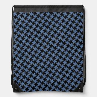 HOUNDSTOOTH2 BLACK MARBLE & BLUE DENIM DRAWSTRING BAG
