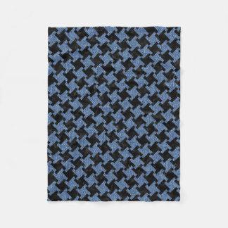 HOUNDSTOOTH2 BLACK MARBLE & BLUE DENIM FLEECE BLANKET