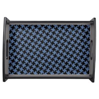 HOUNDSTOOTH2 BLACK MARBLE & BLUE DENIM SERVING TRAY