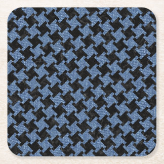 HOUNDSTOOTH2 BLACK MARBLE & BLUE DENIM SQUARE PAPER COASTER