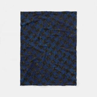 HOUNDSTOOTH2 BLACK MARBLE & BLUE GRUNGE FLEECE BLANKET