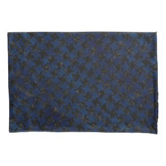 HOUNDSTOOTH2 BLACK MARBLE & BLUE GRUNGE PILLOWCASE