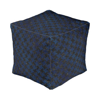 HOUNDSTOOTH2 BLACK MARBLE & BLUE GRUNGE POUF