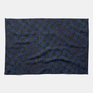 HOUNDSTOOTH2 BLACK MARBLE & BLUE GRUNGE TEA TOWEL