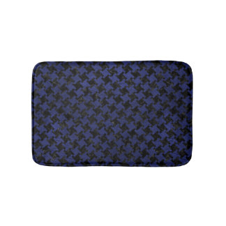 HOUNDSTOOTH2 BLACK MARBLE & BLUE LEATHER BATH MAT